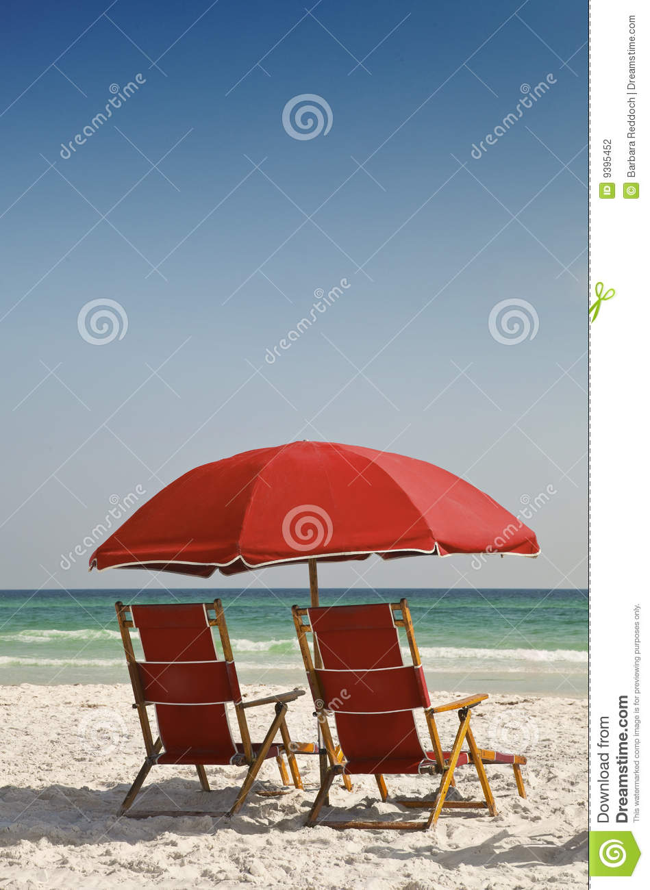 Red Beach Chairs And Umbrella Stock Photography Image