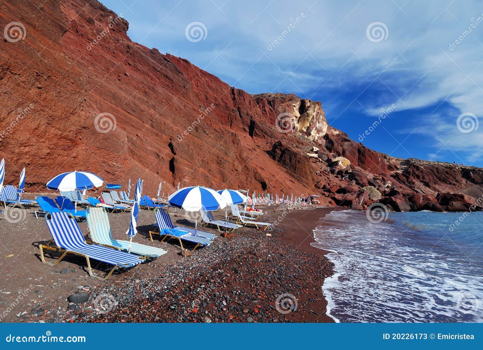 Red Beach Santorini Island Thira Greece Stock Photos