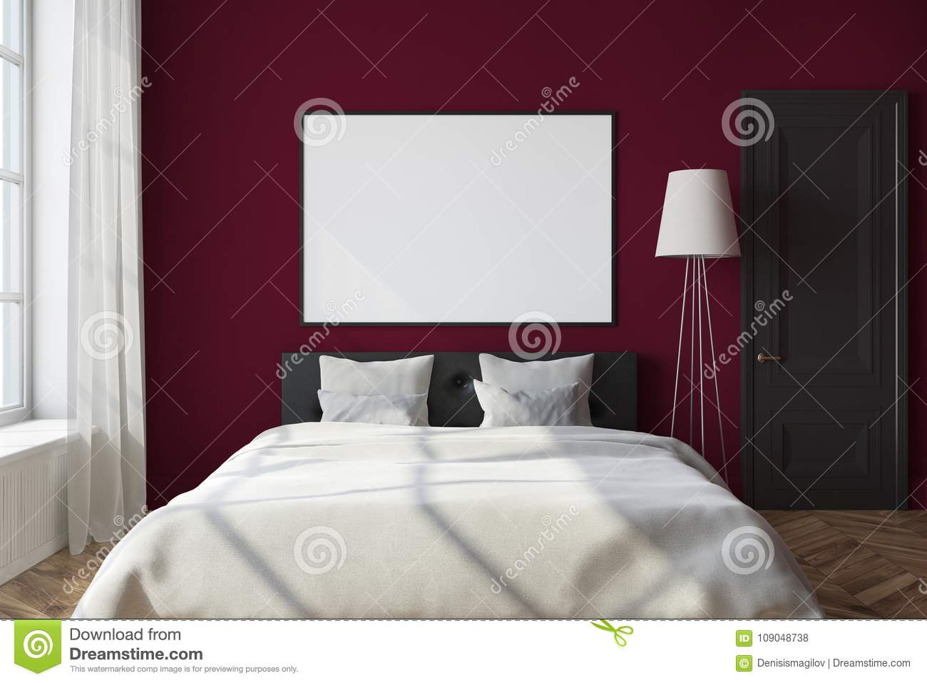 Download Red Bedroom Interior, Framed Poster Stock Illustration    Illustration Of Blank, Family: