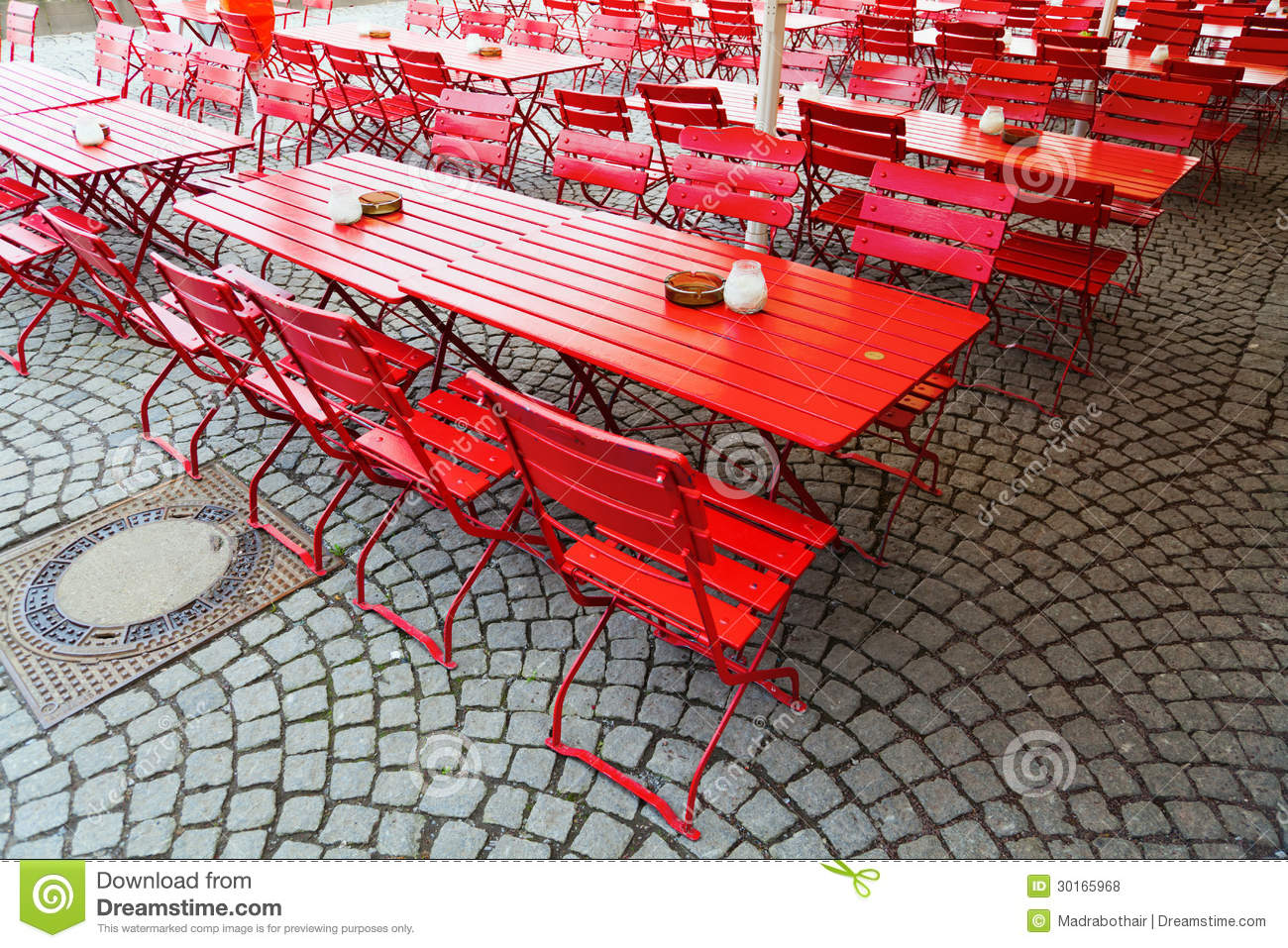 Red Beer Garden Tables Royalty Free Stock Photos Image 30165968