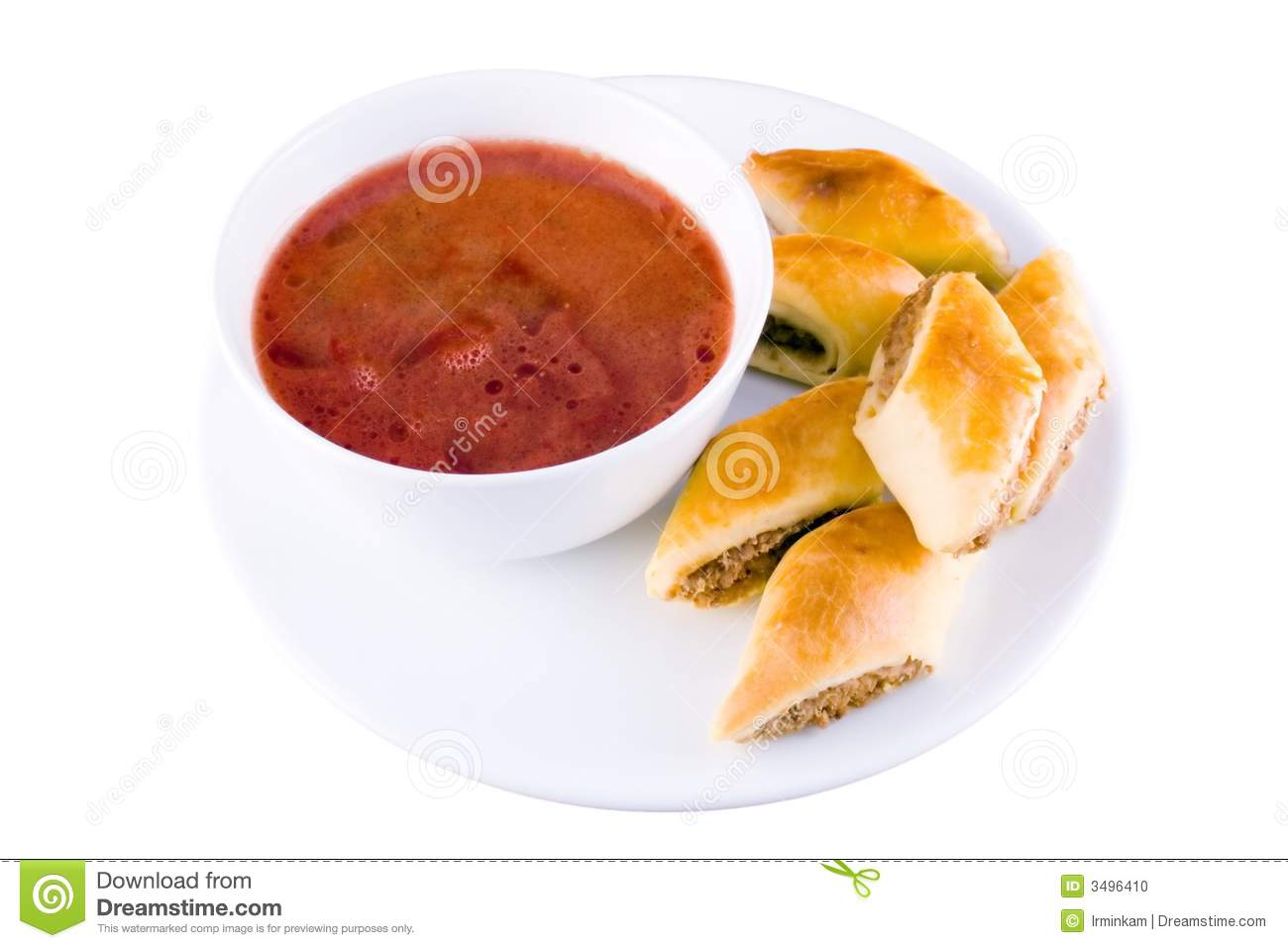 Red-beet soup with piroshki isolated on white.