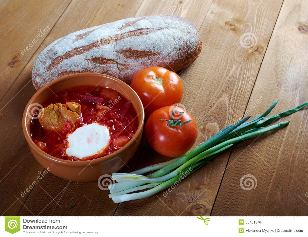 Ukrainian and russian red-beet soup (borscht) with garlic and sour ...