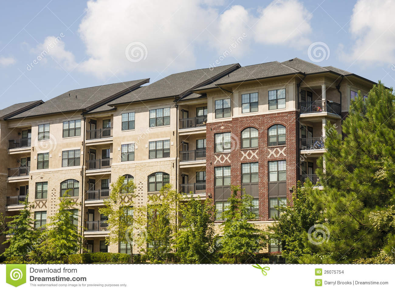 red and beige brick apartments stock images image 26075754