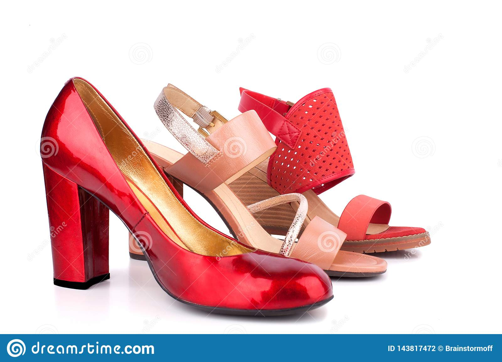 Red, Beige And Orange Female Shoes And