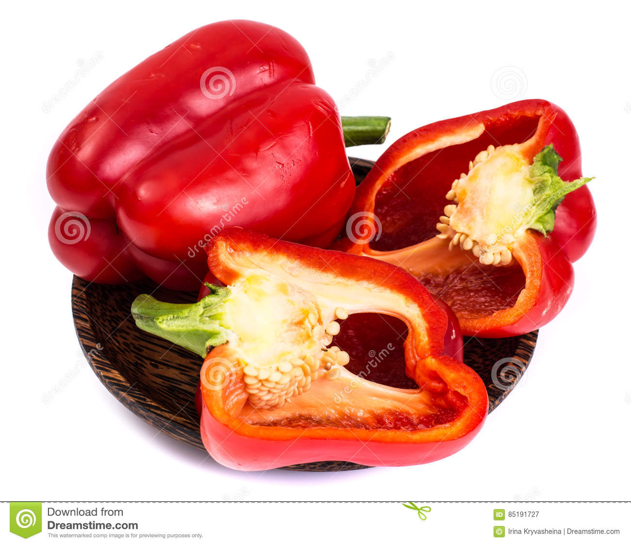 Red bell pepper in cut with seeds