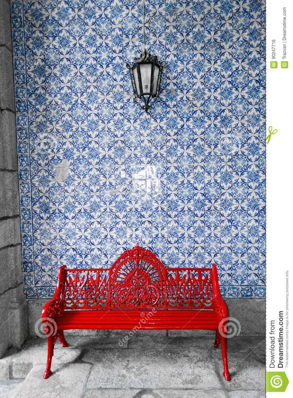 Wondrous Red Bench In Front Of Traditional Portuguese Azulejos Wall Spiritservingveterans Wood Chair Design Ideas Spiritservingveteransorg