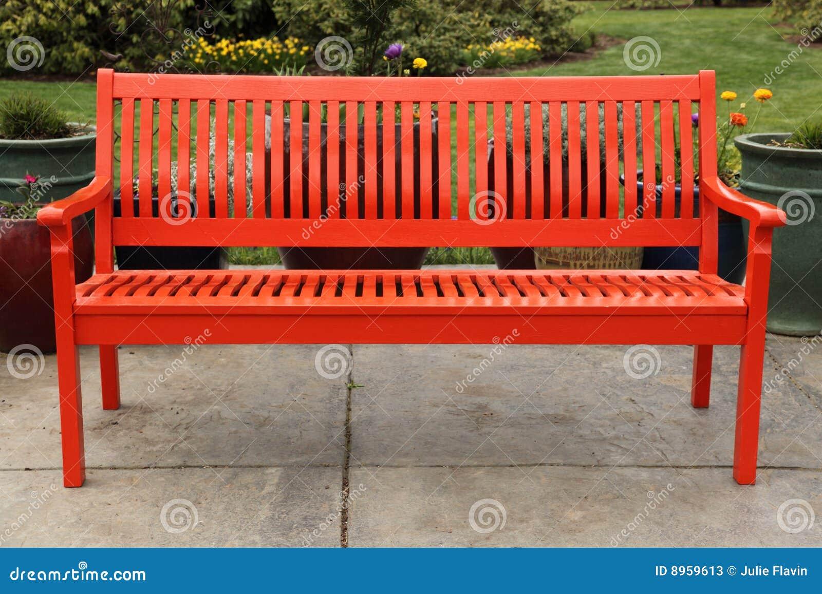Red Bench In Garden Stock Photos Image 8959613