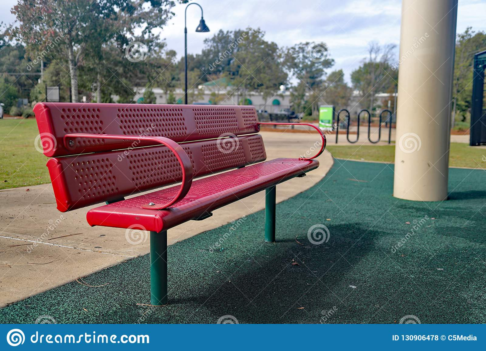 Fabulous Red Bench Seat At Playground Stock Photo Image Of Lawn Gmtry Best Dining Table And Chair Ideas Images Gmtryco