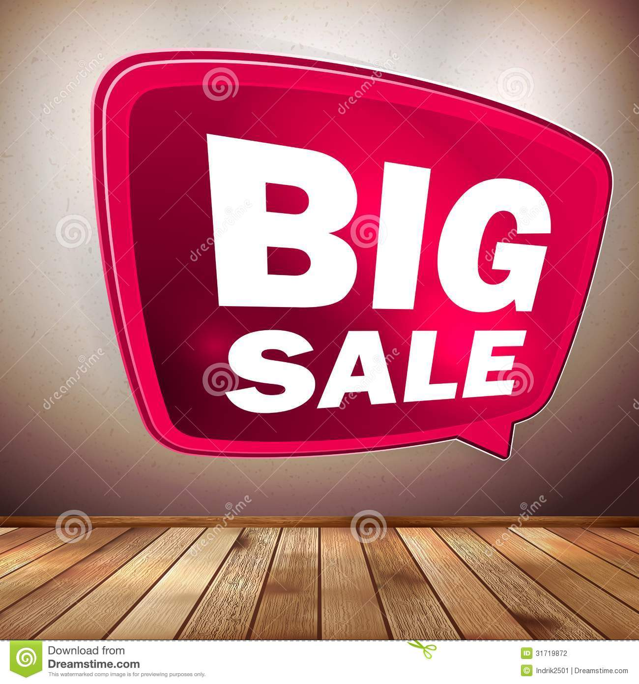 Red big sale speech bubble on wood floor. EPS 10 - Red Big Sale Speech Bubble On Wood Floor. EPS 10 Stock Photography