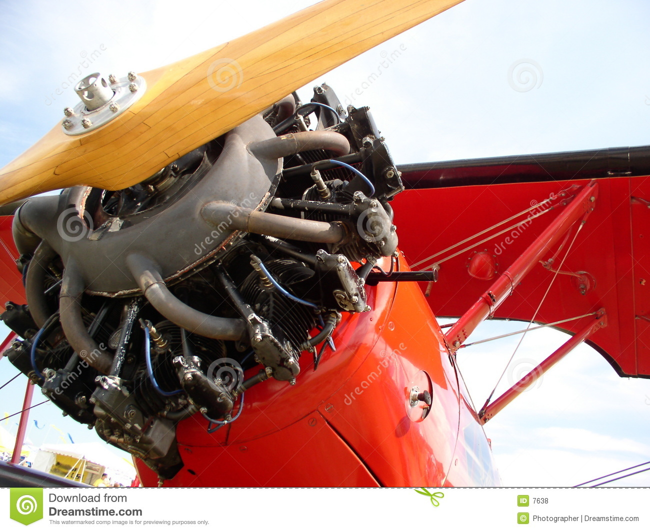 Red Biplane stock photo  Image of prop, antique