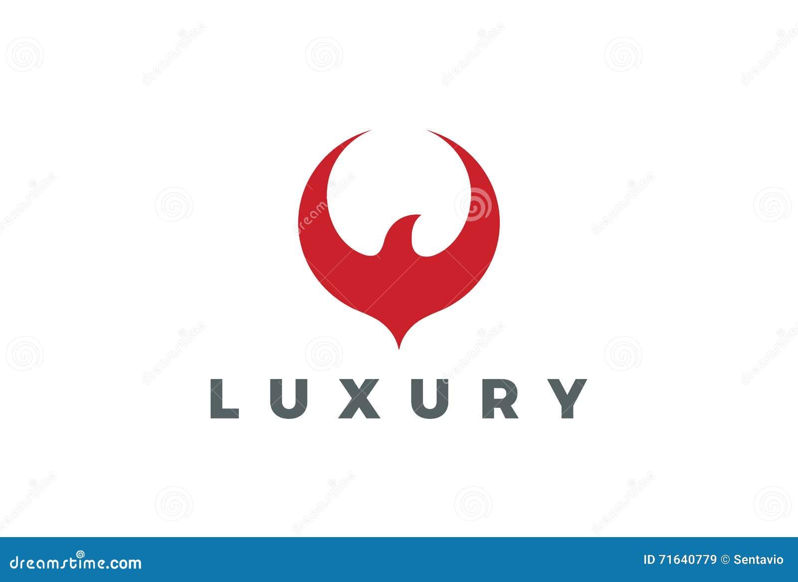 Red Bird Abstract Logo Design Flying Eagle Falcon Hawk Phoenix