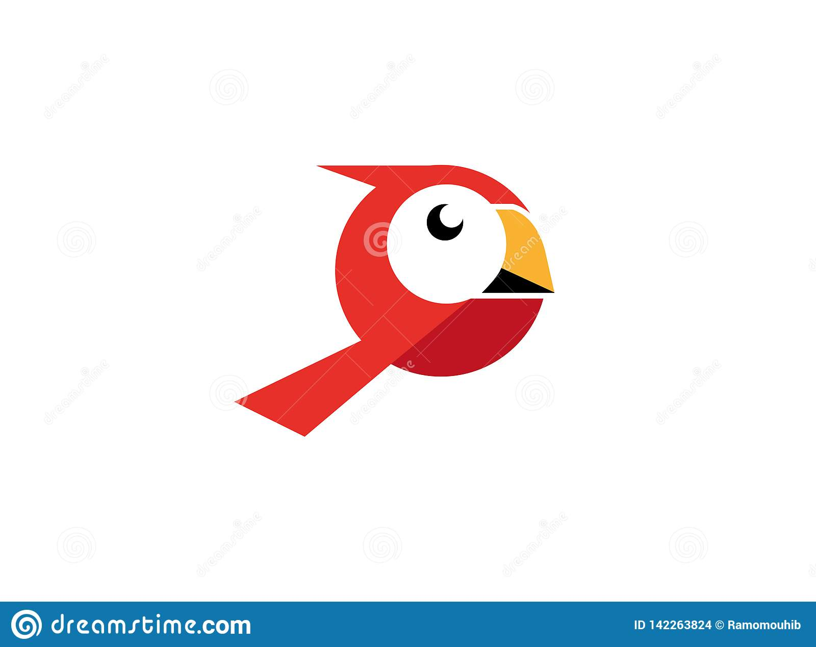 Red Bird with white face and yellow beak for logo