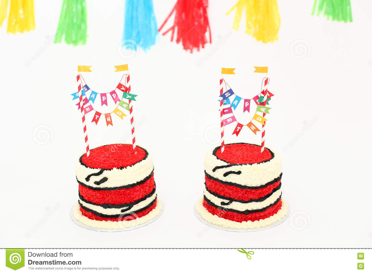 Fine Red Birthday Cake With Banners Stock Photo Image Of Food Birthday Cards Printable Opercafe Filternl