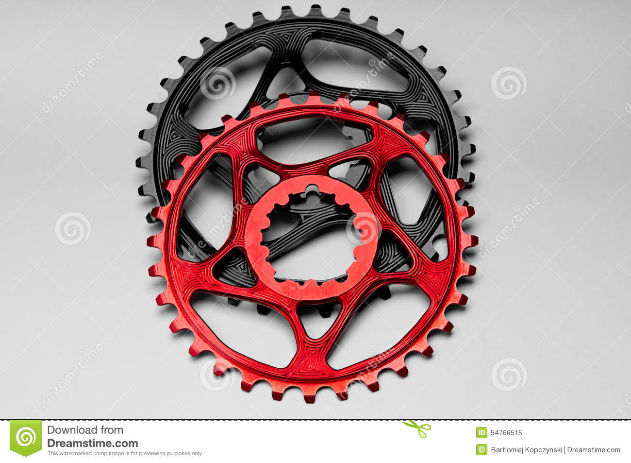 Red and black Bicycle chainring