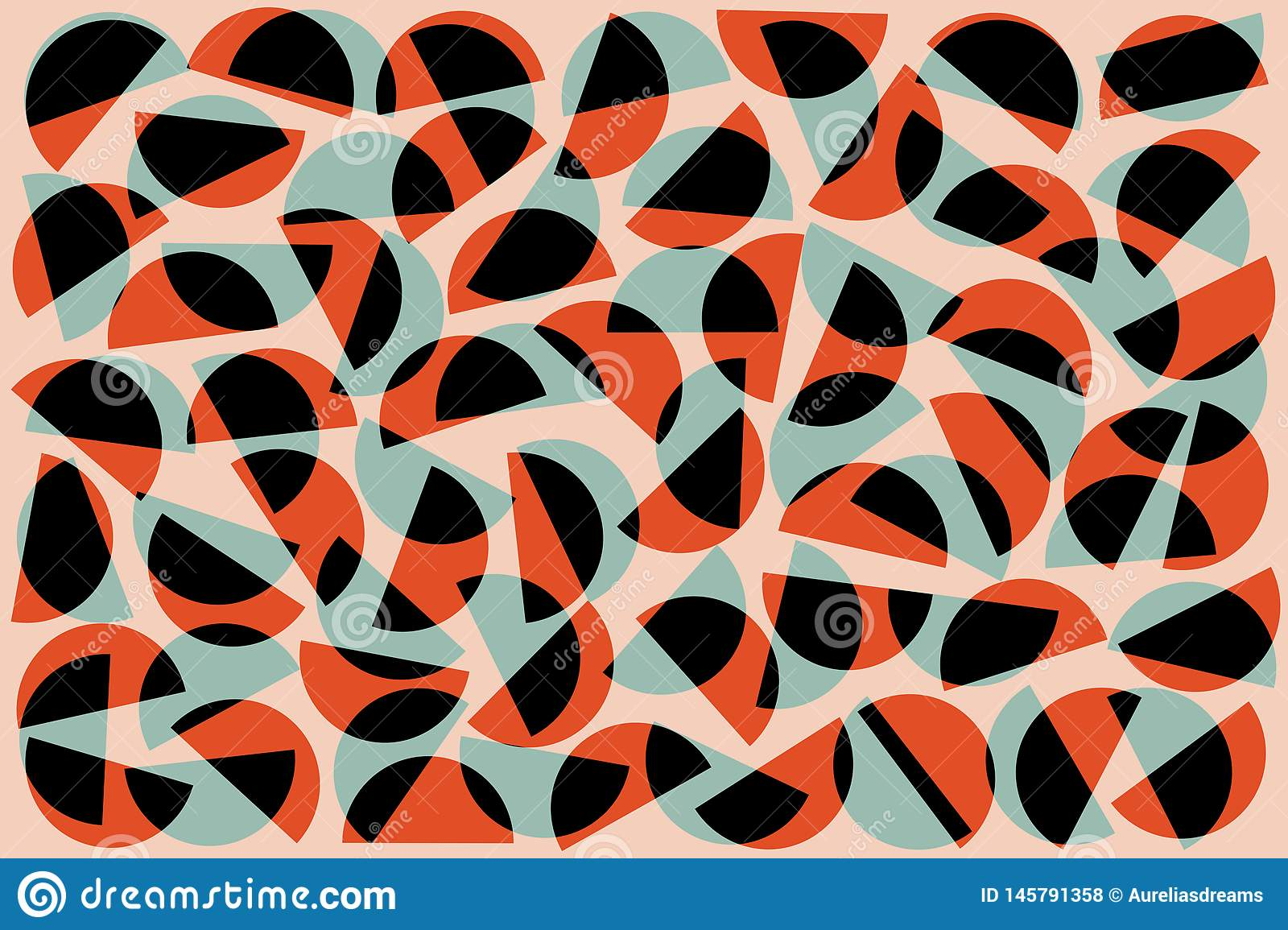Red black blue random semicircles on pink background. Abstract geometric shapes pattern in retro style for fabric textile decor