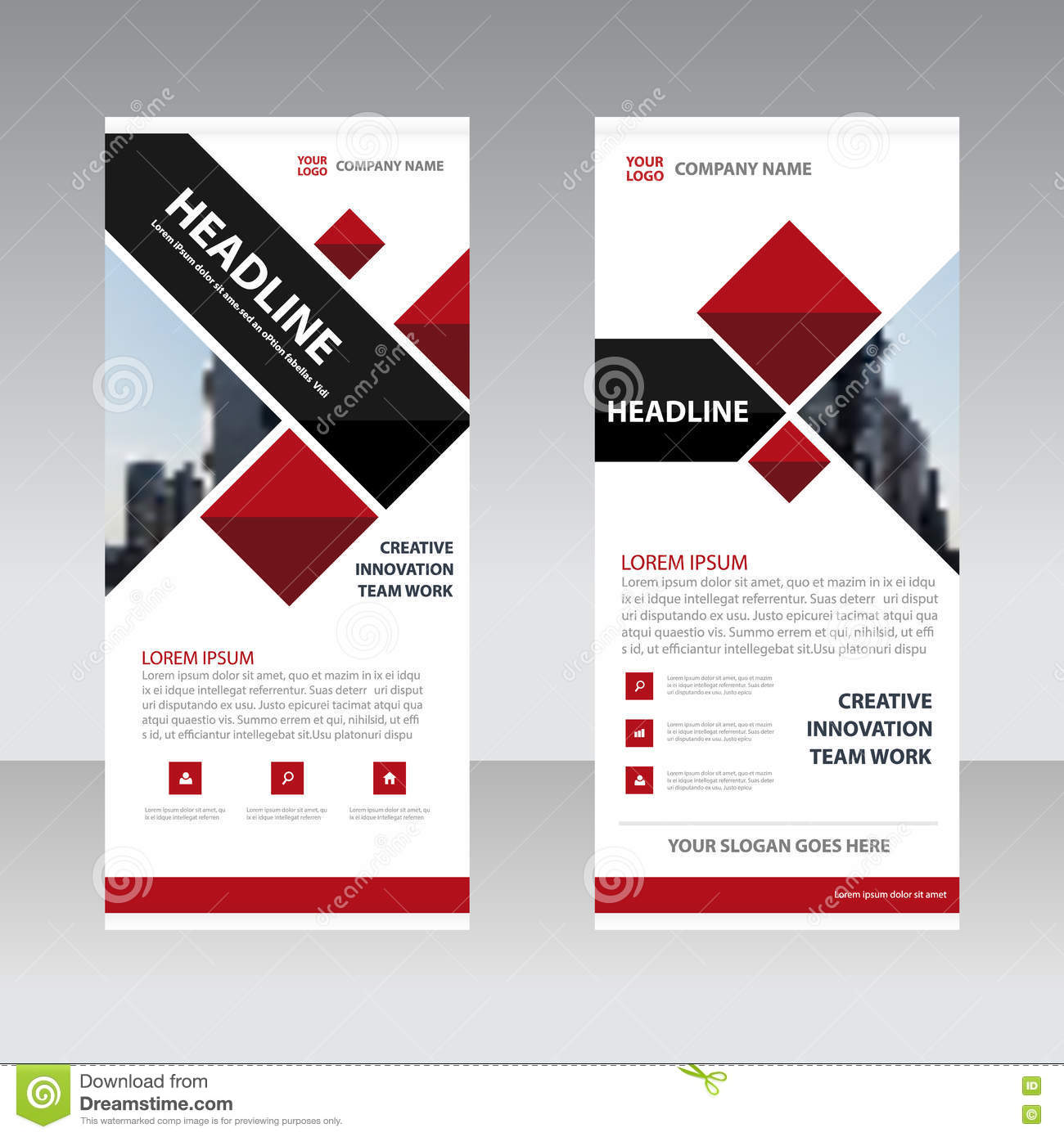 Red Black Business Roll Up Banner Flat Design Template ...