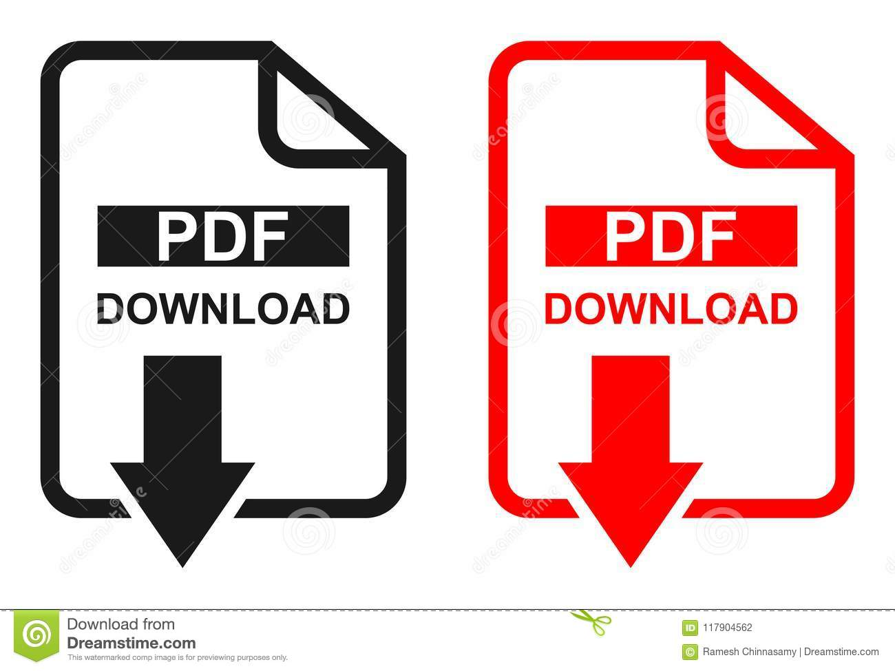 Red and black color Pdf file download icon