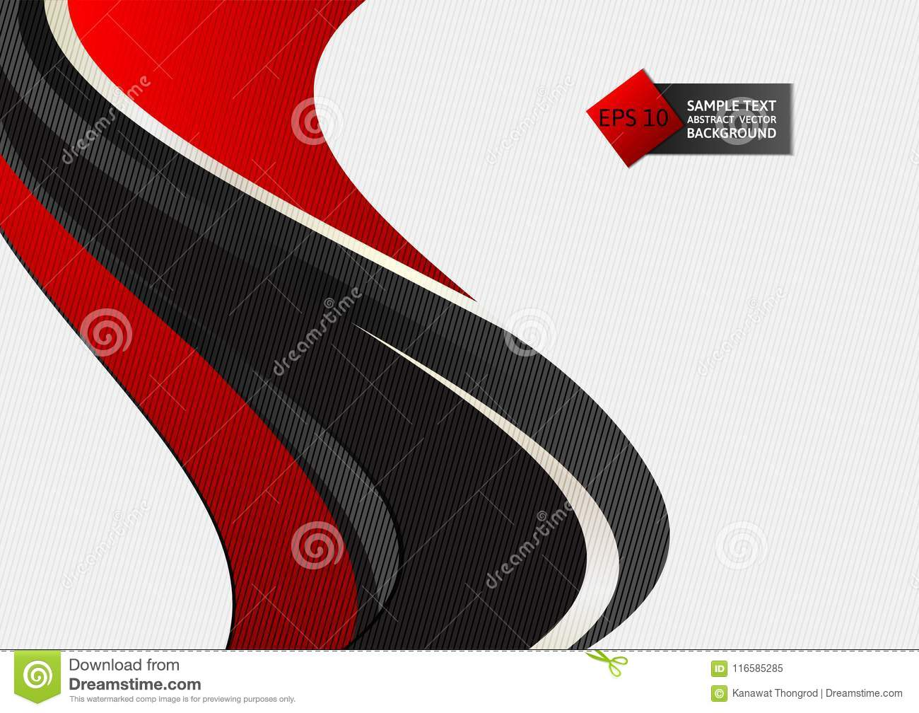 Red and black color wave abstract background Vector illustration