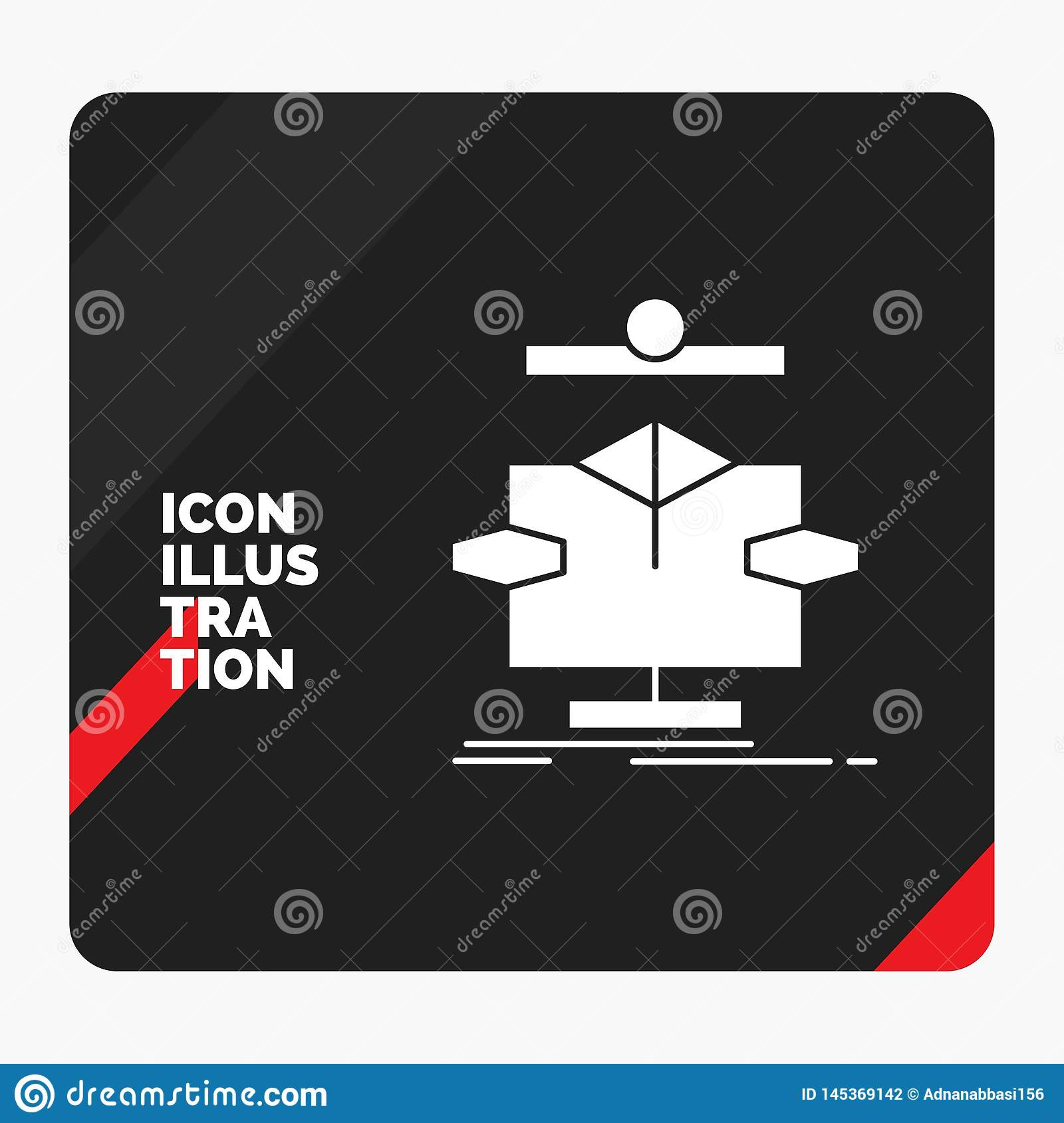 Red and Black Creative presentation Background for Algorithm, chart, data, diagram, flow Glyph Icon