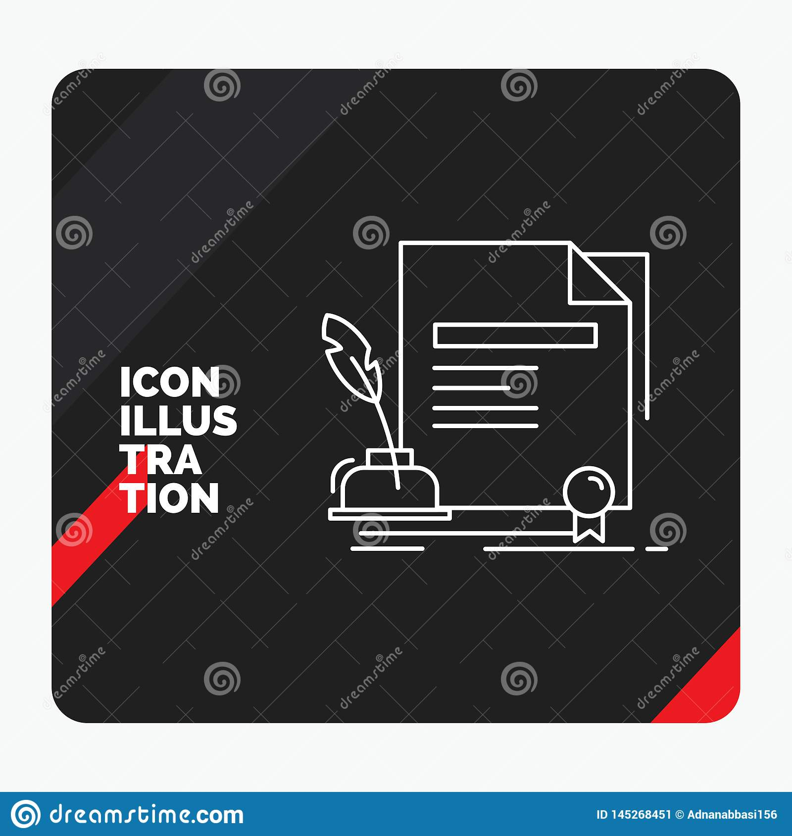 Red and Black Creative presentation Background for contract, paper, document, agreement, award Line Icon