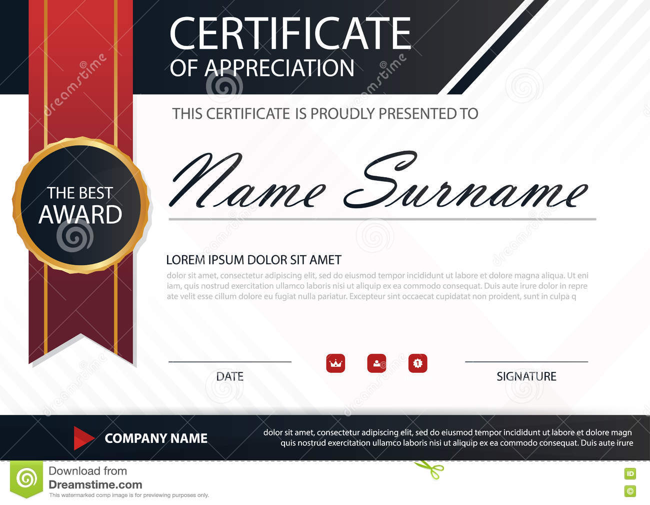 Red Black Elegance Horizontal Certificate With Vector Illustration ...