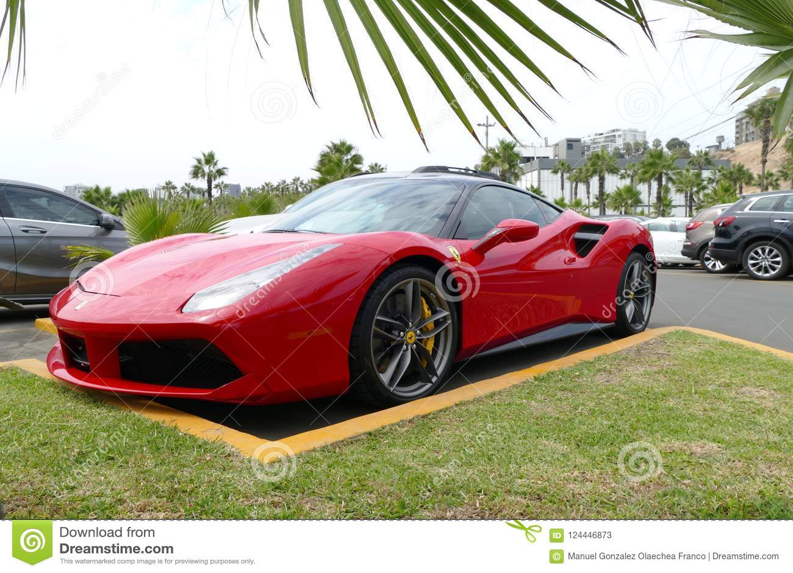 Red And Black Ferrari 488 Gtb In Chorrillos Lima Editorial Stock Photo Image Of America Fast 124446873