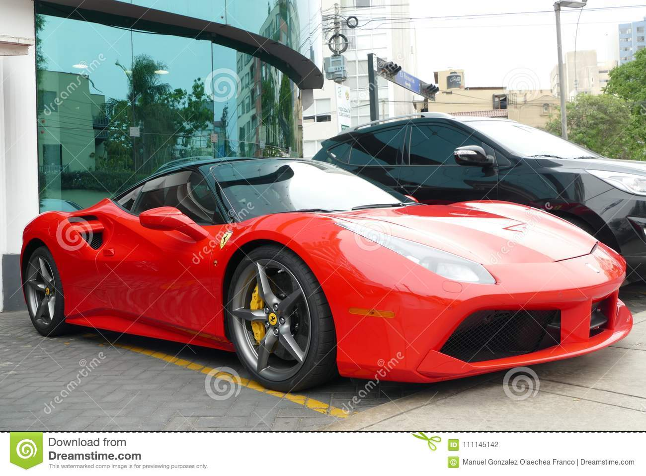 Red And Black Ferrari 488 Gtb Coupe In Lima Editorial Photography Image Of Italy Headlight 111145142