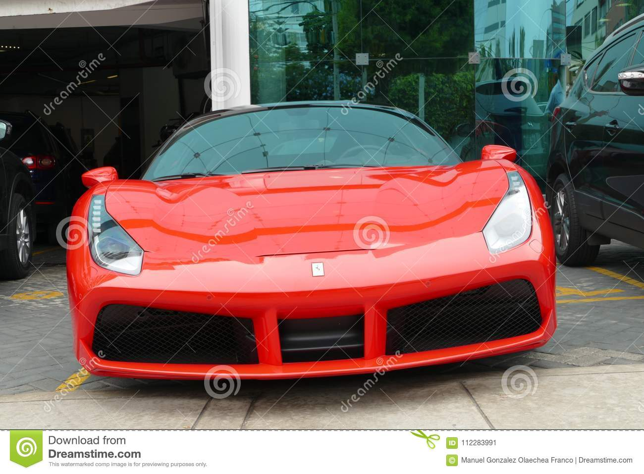 Red And Black Ferrari 488 Gtb Coupe In Lima Editorial Photo Image Of Multicolored Isidro 112283991