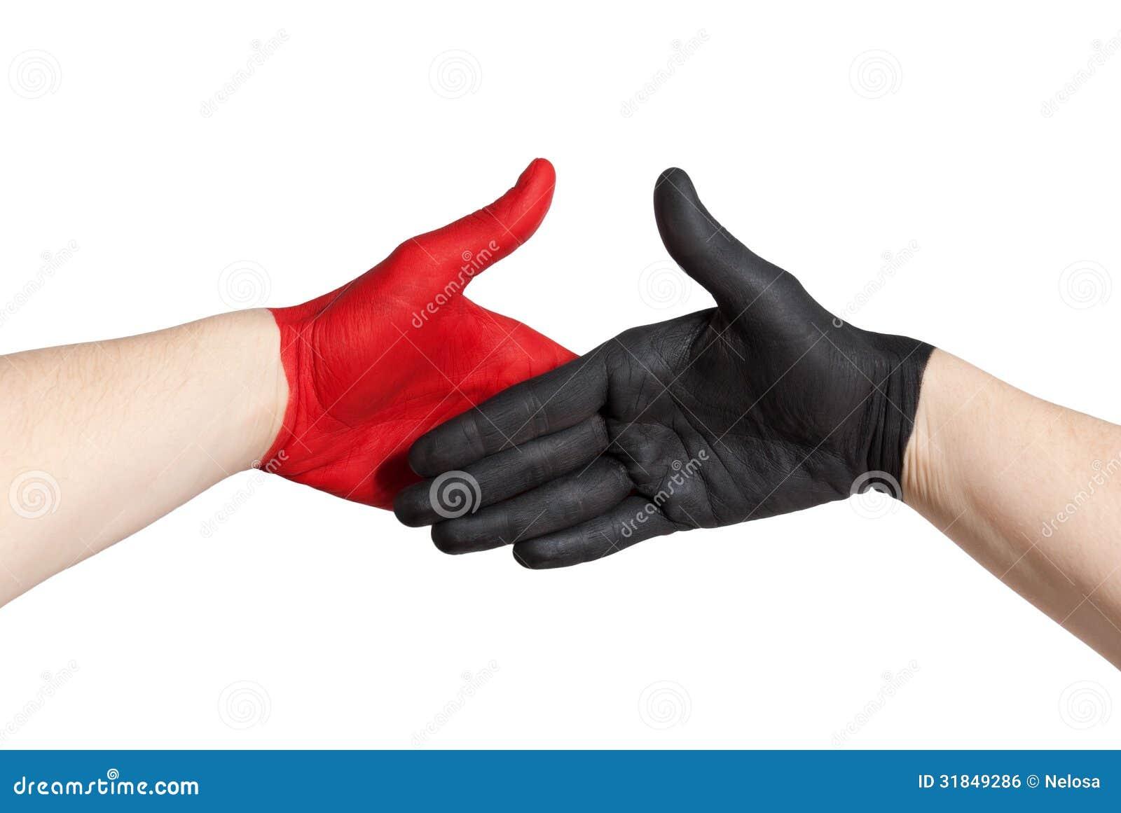 Red and black handshake