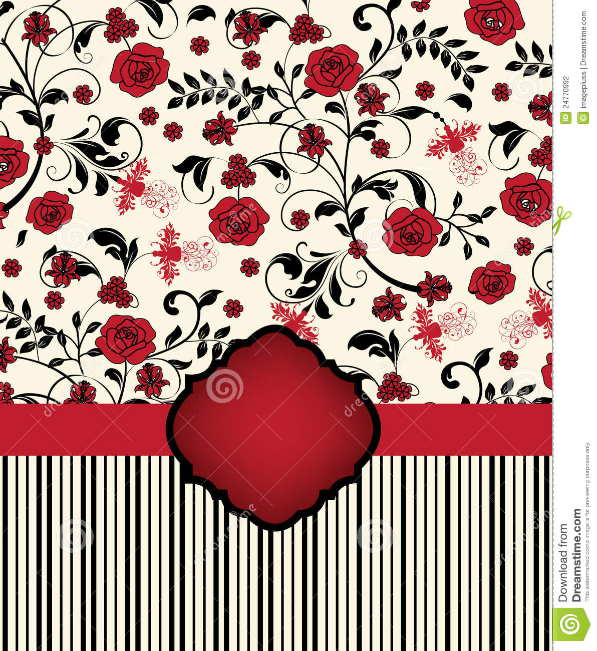 red and black invitation card stock vector illustration of pattern