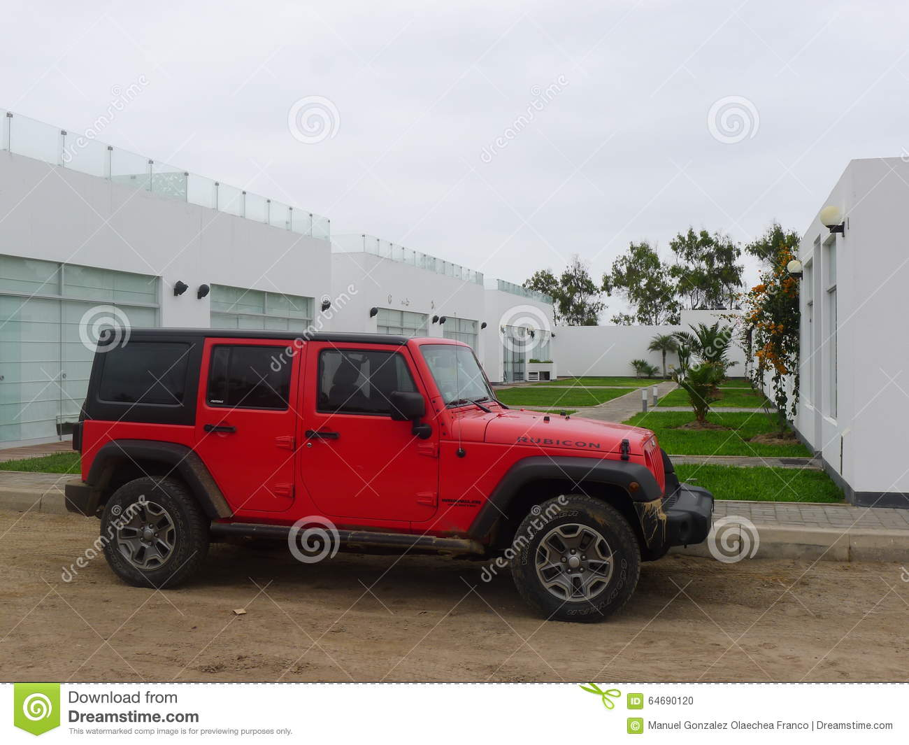 red and black jeep wrangler parked in one lima beach editorial image 90450400. Black Bedroom Furniture Sets. Home Design Ideas