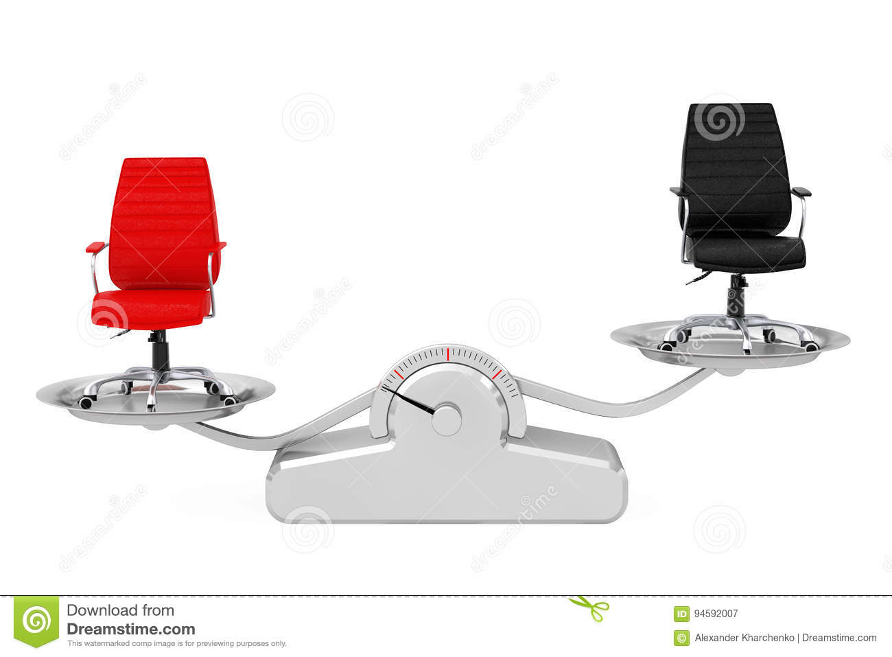 Red And Black Leather Boss Office Chairs Balancing On A