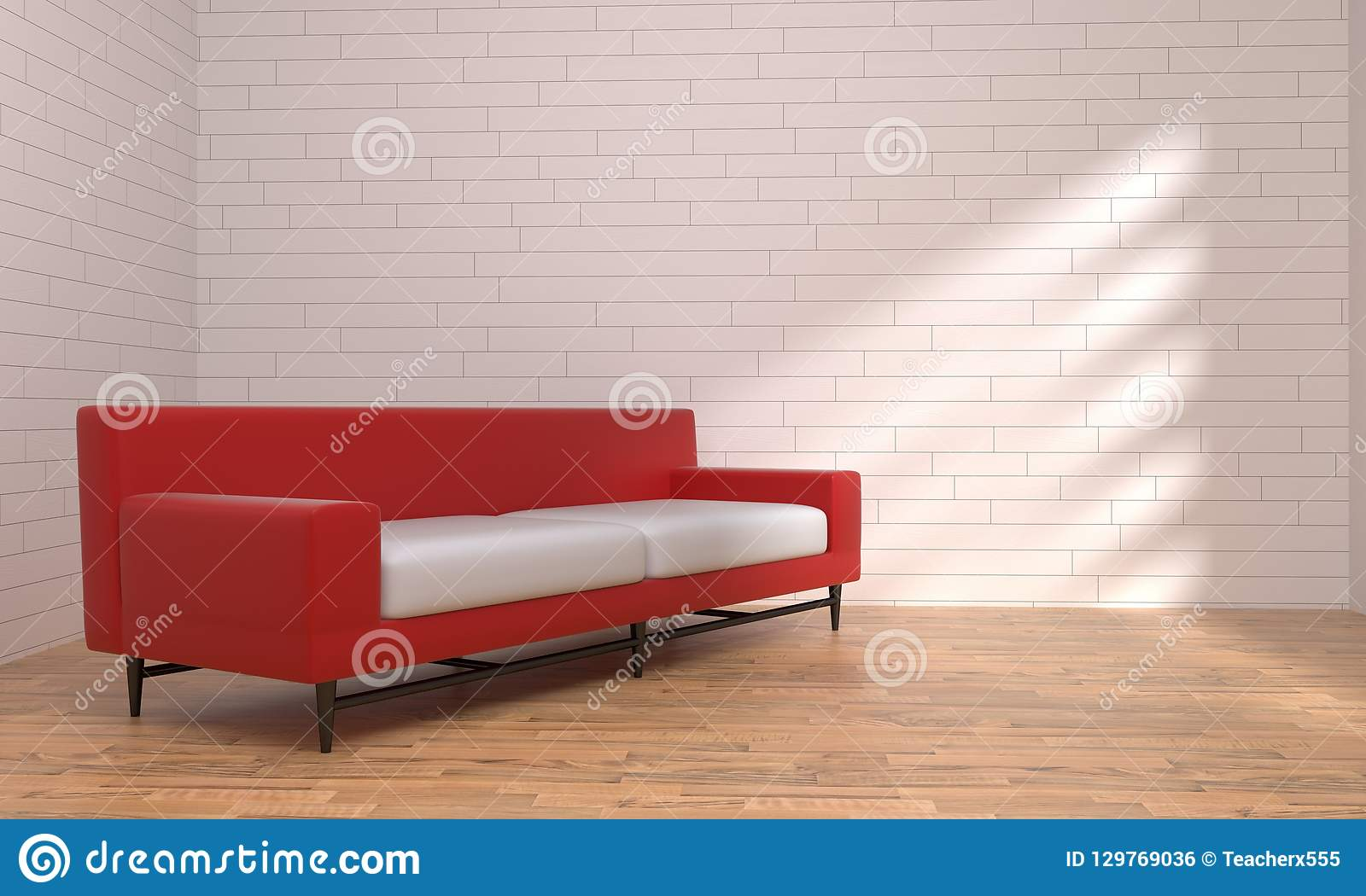 Red And Black Leather Sofa White And Black Background Stock ...