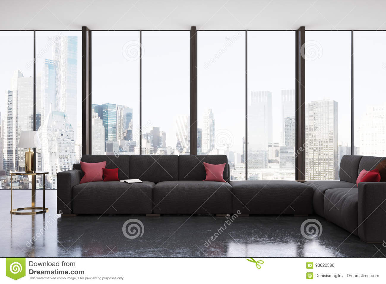 Red And Black Living Room Panoramic Toned Stock Illustration ...
