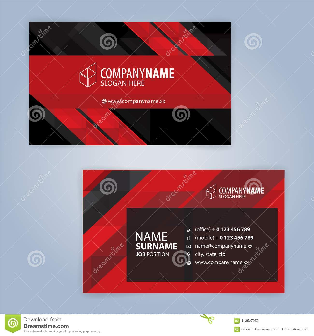 Red and black modern business card template stock vector red and black modern business card template illustration vector 10 cheaphphosting Gallery