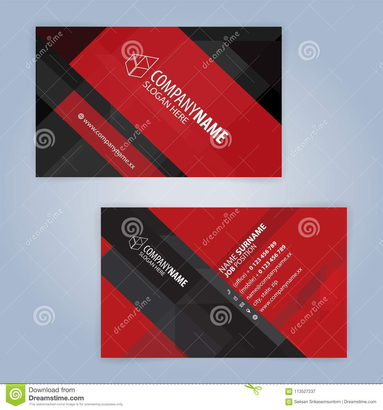 Red and black modern business card template stock vector red and black modern business card template office banner fbccfo Image collections