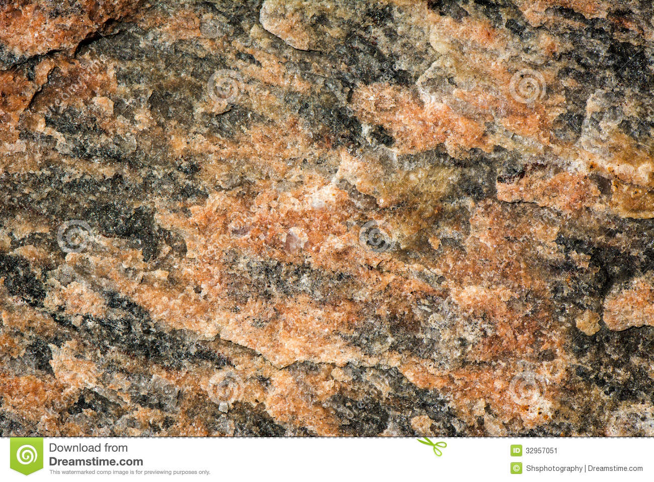 Red And Black Granite : Red black mottled granite stock image of close