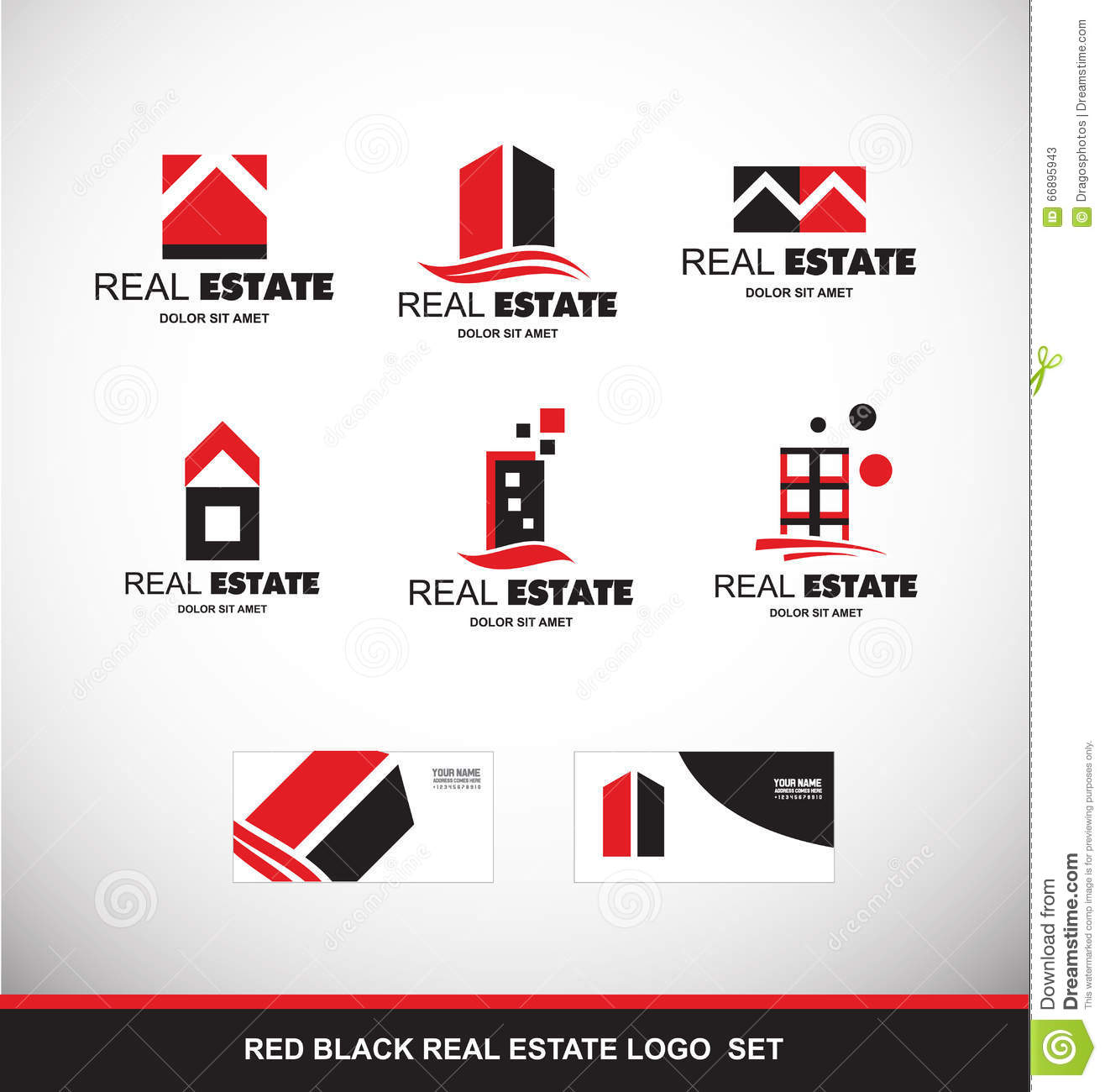 Red Black Real Estate Logo Icon Set Stock Vector Image