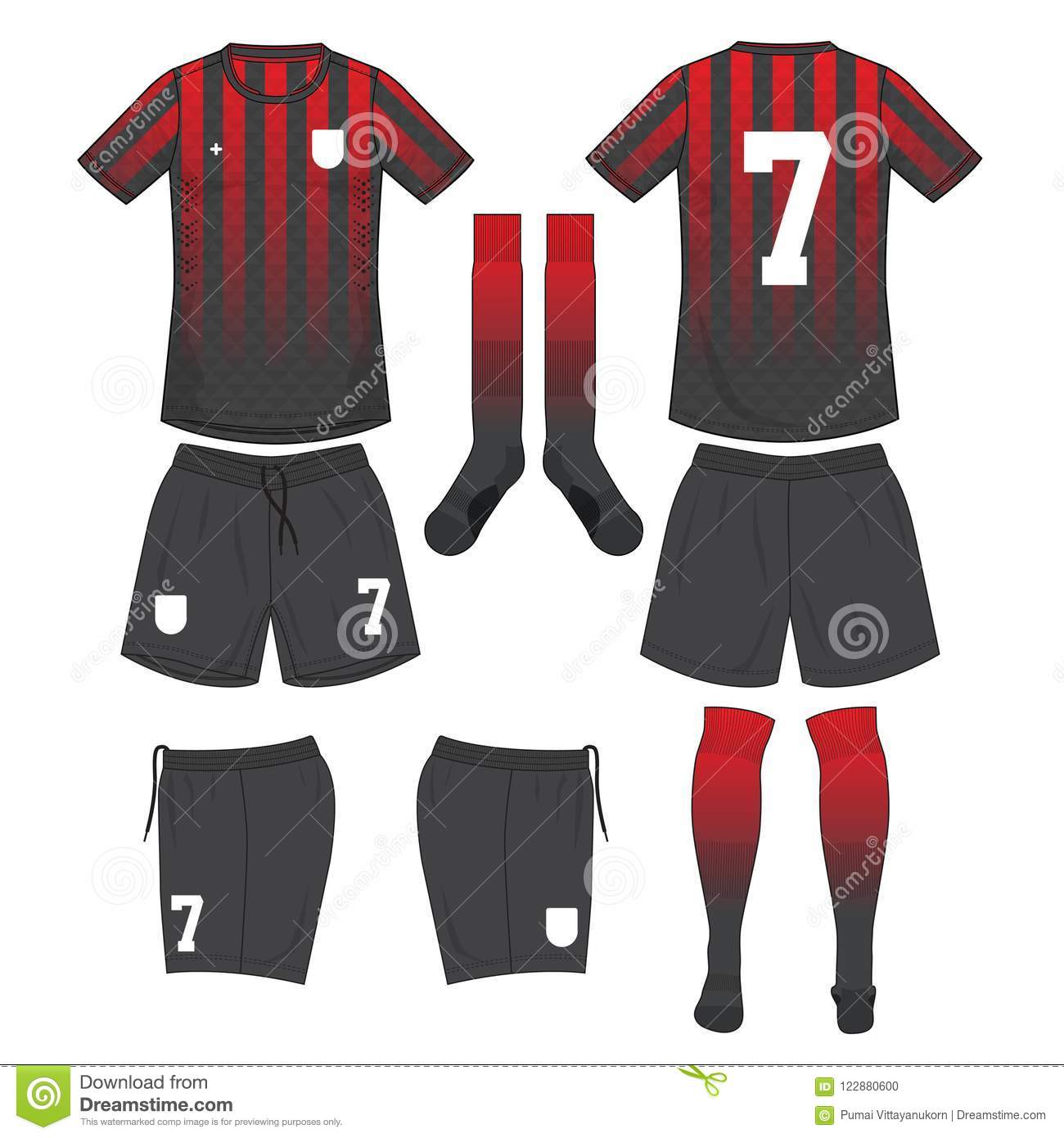 73bcd4b66df Red And Black Soccer Jersey With Sock And Black Short Mock Up Stock ...
