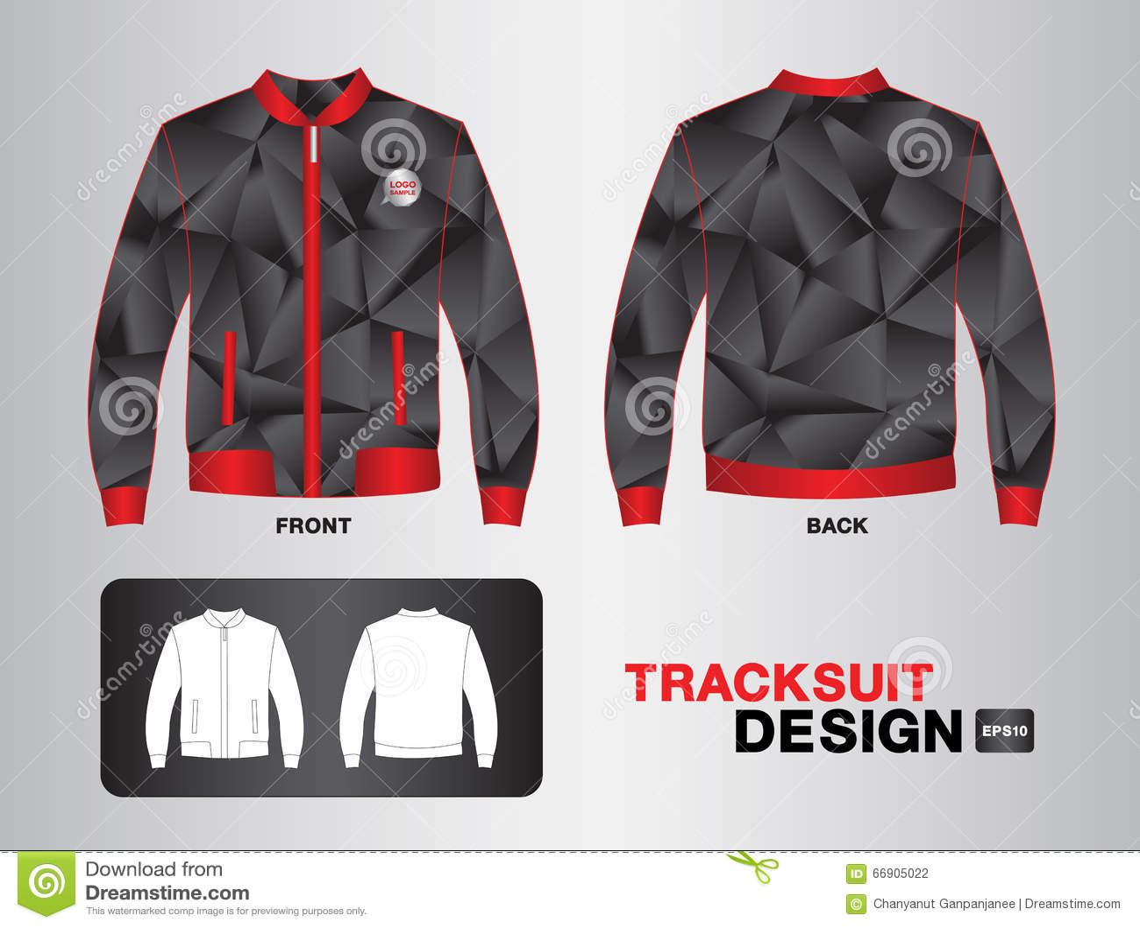 Shirt uniform design vector - Red And Black Tracksuit Design Vector Illustration Jacket Design Stock Photography