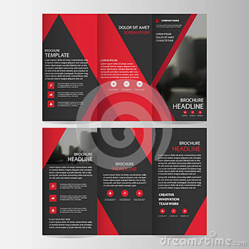 red black triangle business trifold leaflet brochure flyer