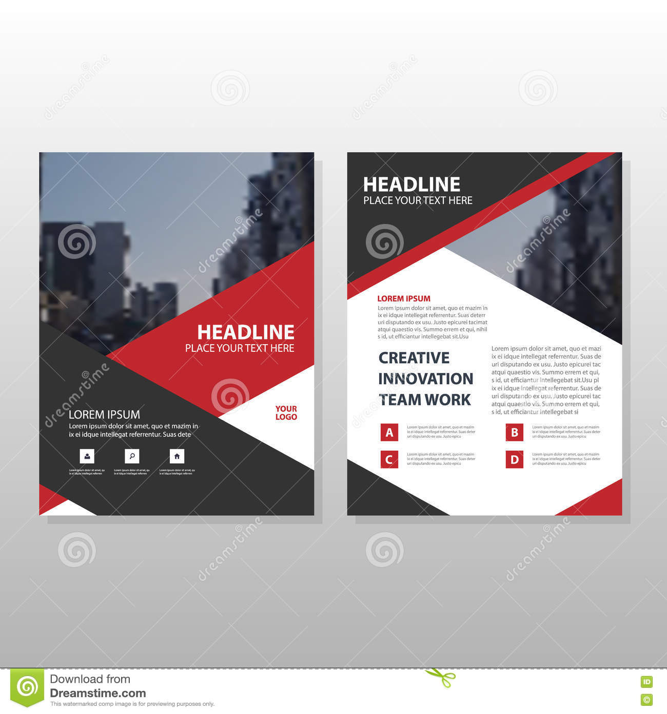 red black triangle leaflet brochure flyer annual report template