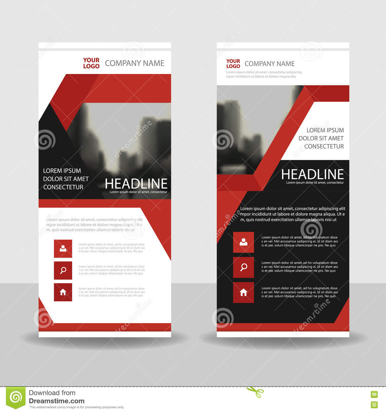 red brochure template - red black triangle label business roll up banner flat