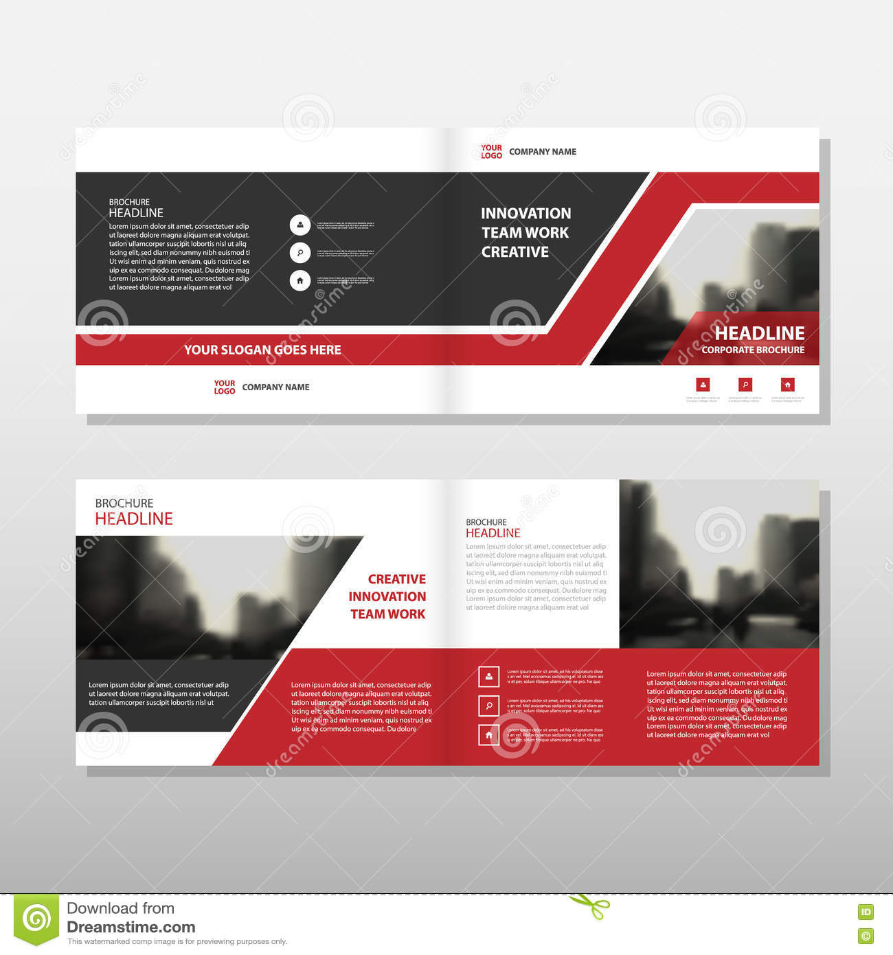 red black triangle vector annual report leaflet brochure