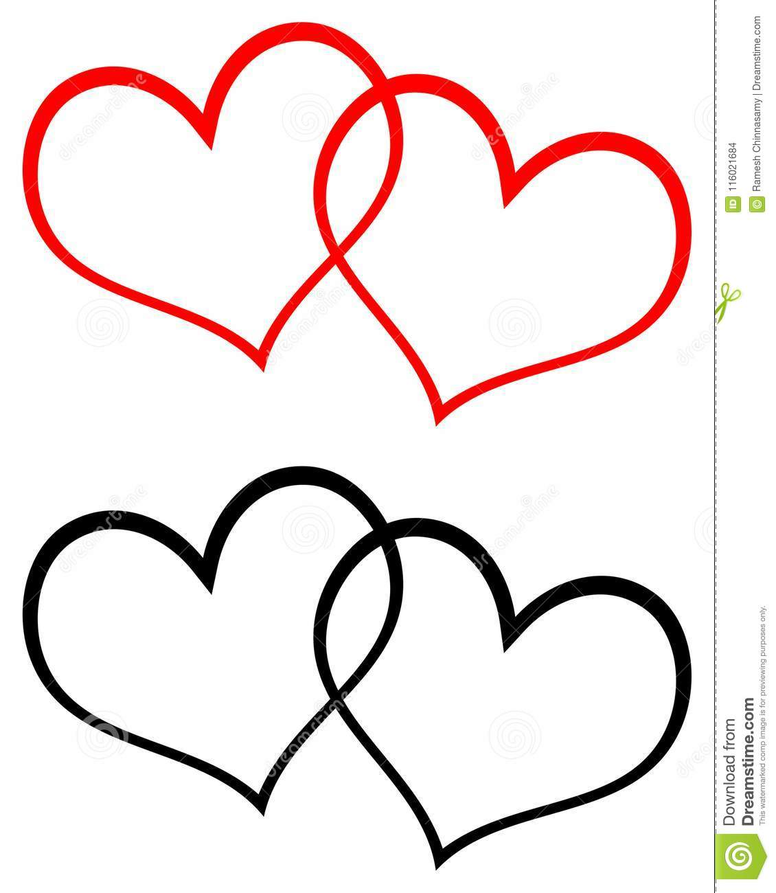 Red And Black Two Hearts Clip Art Stock Vector ...