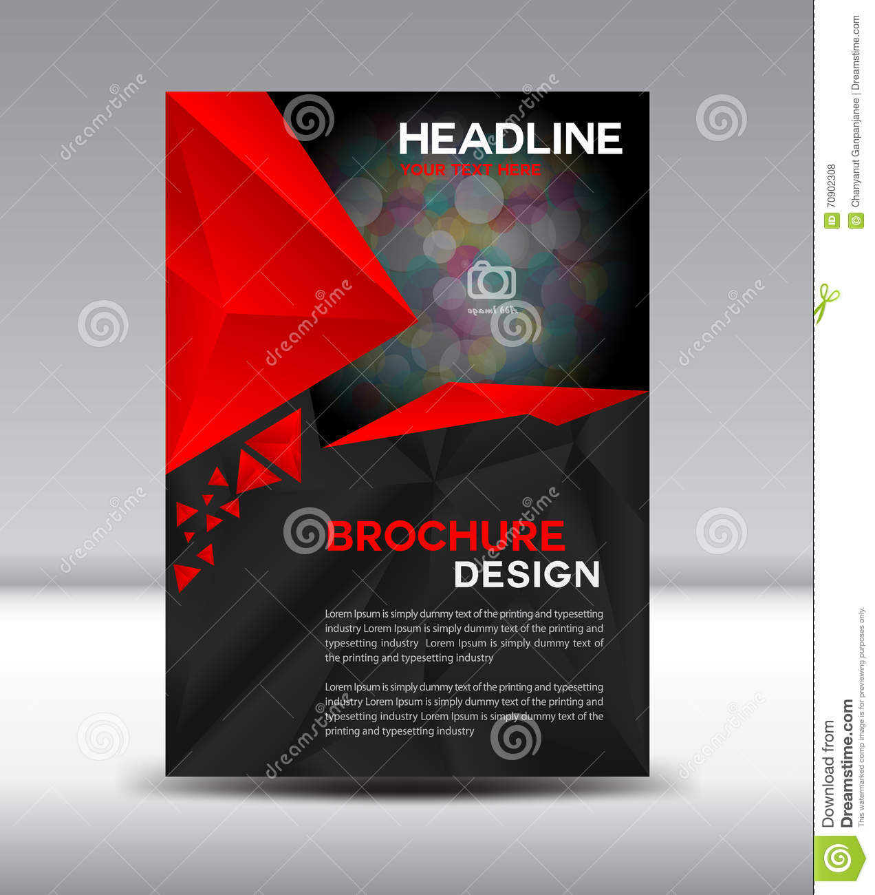 red and black vector brochure flyer and cover template