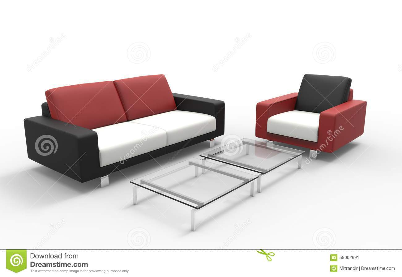 Red black and white sofa with coffee table stock image for Sofa coffee table