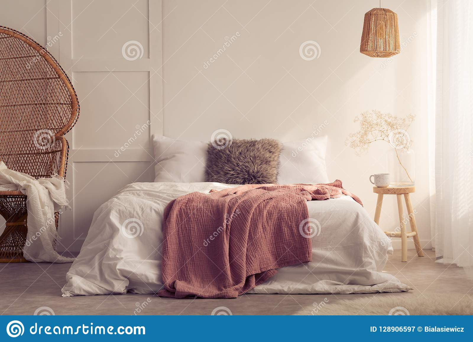 Red Blanket On Bed With Cushions In White Bedroom Interior ...