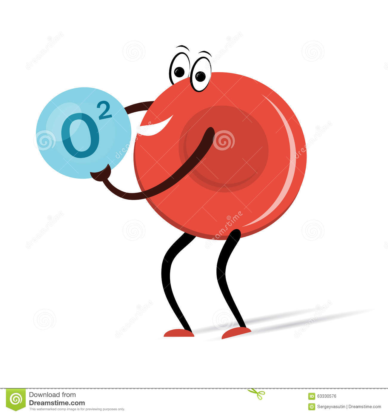 red blood cell with oxygen cartoon stock illustration illustration Red Blood Cell Structure red blood cell with oxygen cartoon