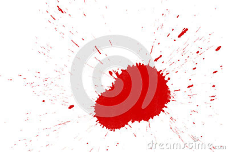 Red blood stain on white background